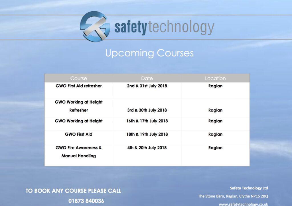 July 2018 training dates Raglan